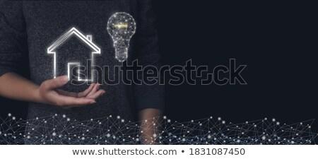 Vrouw hologram projectie wolk technologie Stockfoto © ra2studio