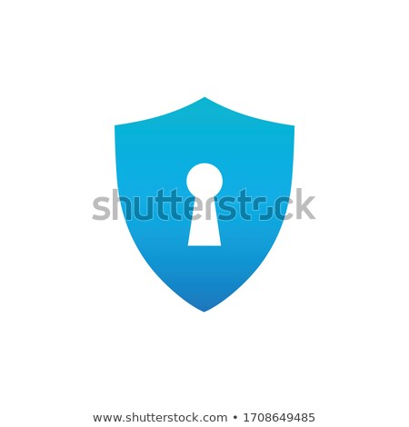 Lock icon, password protected sign. Stock Vector illustration isolated on blue background. Stock photo © kyryloff