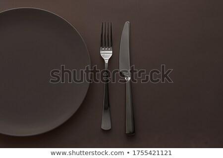 Vazio prato talheres conjunto escuro Foto stock © Anneleven