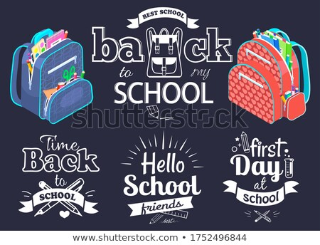 Back to school concept, black vector banner with bright schoolbags. Quote with school supplies Stock photo © robuart