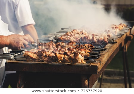 Stock photo: Preparation of kebab