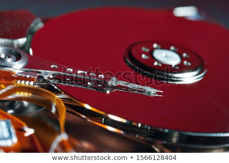 Stock photo: red platter from open hard drive