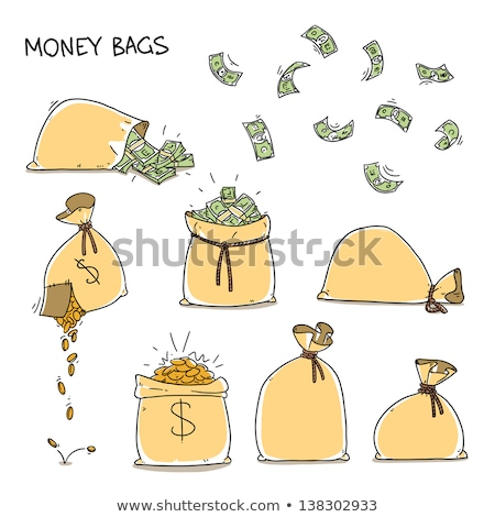 isolated of wealth coins spilling from money bag Stock photo © vichie81