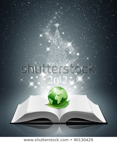 Stock photo: 2012 new year and world on open book