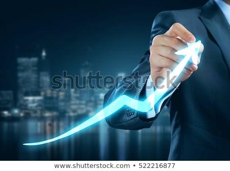 Сток-фото: деловой · человек · обратить · линия · диаграммы · успех · изолированный