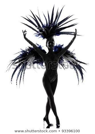 Showgirl siyah beyaz portre seksi göstermek kız Stok fotoğraf © curaphotography