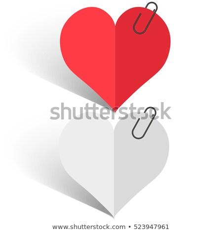 Valentin nap levélpapír szív notebook kártya fehér Stock fotó © lindwa