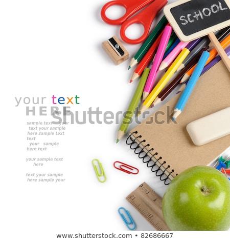Birincil ikincil renkler mum boya beyaz kâğıt Stok fotoğraf © latent