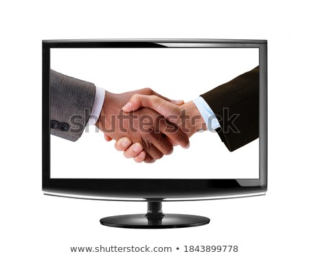 Handshake LCD suivre affaires ordinateur main Photo stock © ozaiachin
