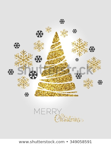 paper cut christmas tree in black and white stock photo © 3523studio
