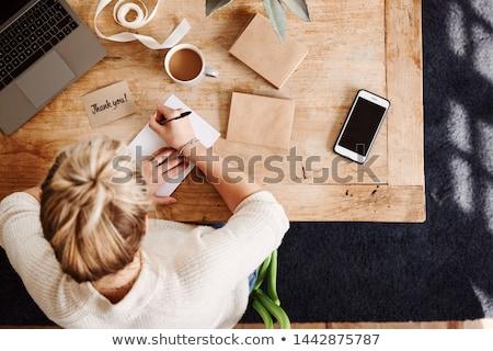 Dank u nota woorden schrijven communicatie witte Stockfoto © mscottparkin