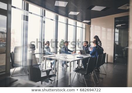 ストックフォト: 会議 · オフィス · コンピュータ · 女性 · 空 · 笑顔