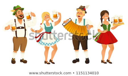 Stock photo: Oktoberfest background - girl with beer