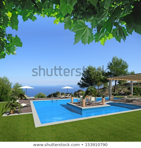 hermosa · piscina · costa · mar · agradable · vista - foto stock © IMaster