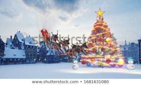 vliegen · maan · hout · kerstman · rendier - stockfoto © krisdog