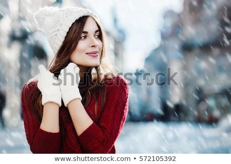 expressive · jeunes · brunette · gants · femme - photo stock © acidgrey