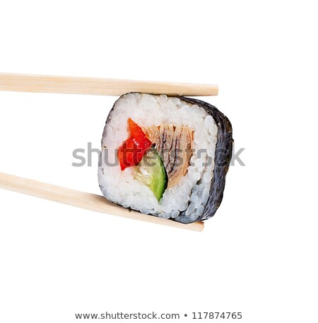 sushi roll with eel, sweet pepper and cucumber stock photo © Elmiko