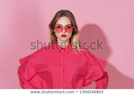 Mulher óculos vestido vermelho cara Foto stock © wavebreak_media