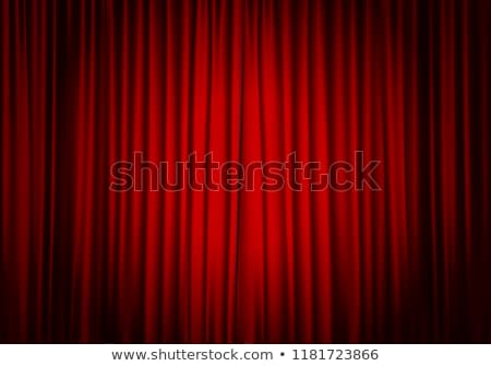 Spotlights on red velvet cinema curtains Stock photo © Lightsource