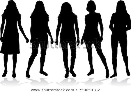 Dansen silhouetten menigte meisjes club Stockfoto © koqcreative