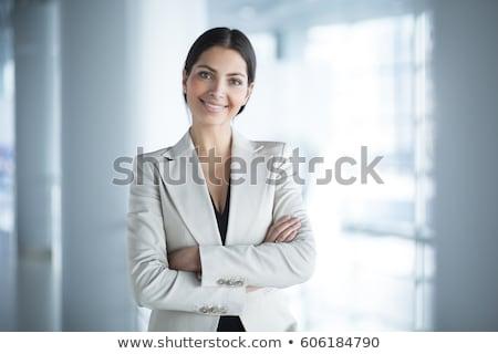belle · femme · d'affaires · posant · isolé · blanche · bureau - photo stock © vwalakte