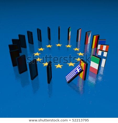 Zdjęcia stock: Kryzys · domina · efekt · działalności · euro · biały