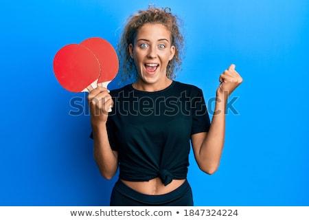 Stockfoto: Tennis · sport · blond · jonge · mooi · meisje · vrouw