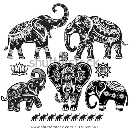 Silhouette Of Elephant With Ornament In Vector Stockfoto © wikki