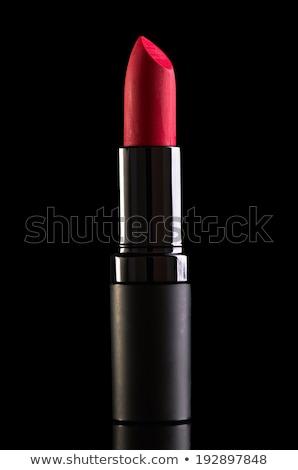 Piros ajkak izolált fekete piros fényes ajkak Stock fotó © Glenofobiya