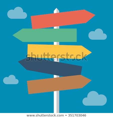 Decyzja drogowego kierunku podpisania mętny niebo Zdjęcia stock © stevanovicigor