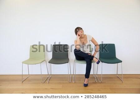 genç · kadın · beyaz · sıkılmış · kadın · oturma · sandalye - stok fotoğraf © kzenon
