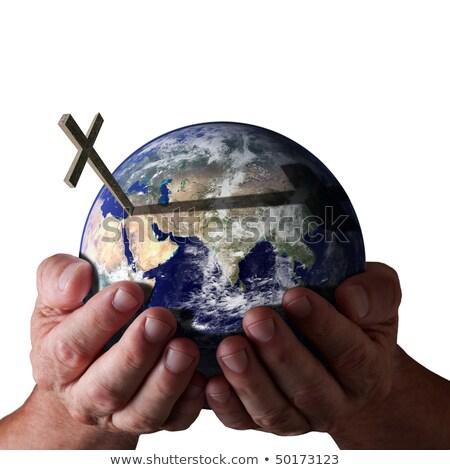 Foto stock: Deus · mundo · atravessar · mãos · isolado