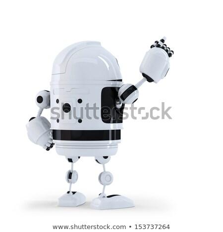 Android robot mutat láthatatlan tárgy izolált Stock fotó © Kirill_M