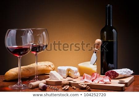 brood · salami · kaas · wijn · Geel · boter - stockfoto © doupix