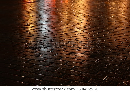 shining golden lights on wet pavement Stock photo © digitalmagus