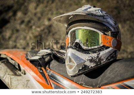 Motorfiets helm stofbril oranje motorcross fiets Stockfoto © Kor
