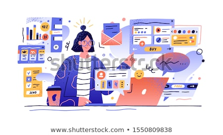 young successful businesswoman multitasking stock photo © jeliva