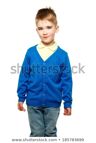 Cheerful little boy in blue cardigan and yellow shirt  Stock photo © Nejron