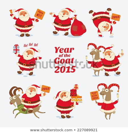 christmas reindeer santa claus and a sheep symbol 2015 stock photo © orensila