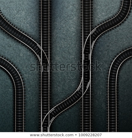 old railroad track switch with train background stock photo © compuinfoto