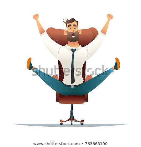 Cartoon восторженный человека стороны счастливым дизайна Сток-фото © lineartestpilot