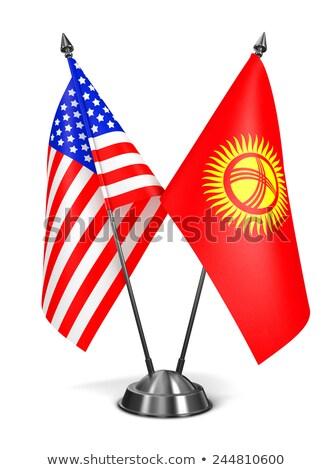 EUA Quirguistão miniatura bandeiras isolado branco Foto stock © tashatuvango