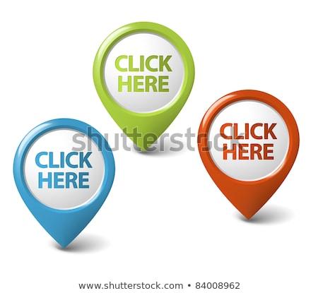 Kliknij tutaj zielone wektora ikona przycisk Internetu Zdjęcia stock © rizwanali3d