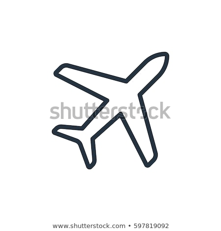 airplane simple icon on white background stock photo © tkacchuk