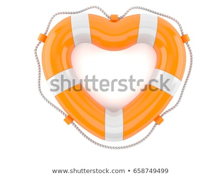 heart and life buoy on a white background isolated 3d image stock photo © iserg