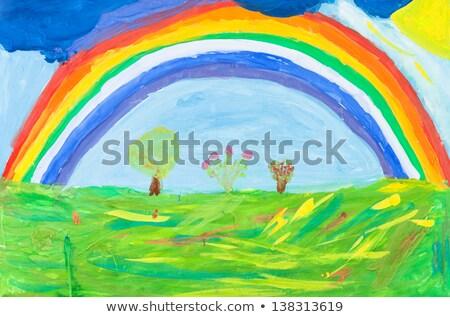 ребенка Живопись деревья Blue Sky школы краской Сток-фото © ankarb