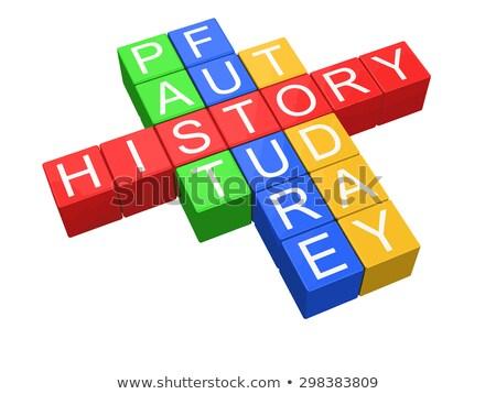 Kubus puzzel geschiedenis gebouw Stockfoto © tang90246