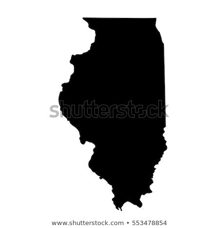 Carte Illinois icônes coeur pavillon cible Photo stock © retrostar