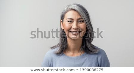 belo · feliz · adulto · mulher · preto · cabelos · lisos - foto stock © magann