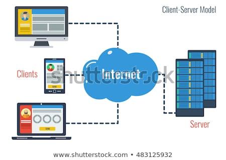 Foto stock: Teia · cliente · servidor · clientes · globo · ícone · web